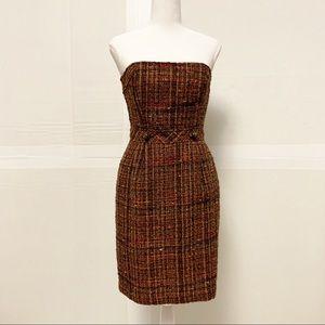 Trina Turk strapless Tweed dress women size 4